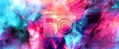 Naklejka Bright artistic splashes. Abstract painting color texture. Modern futuristic pattern. Multicolor dynamic background. Fractal artwork for creative graphic design