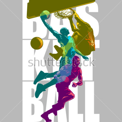 Naklejka Bright Basketball players silhouettes with Colour Channel overlaping  sport illustration