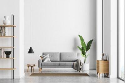 Naklejka Bright living room interior with white empty wall