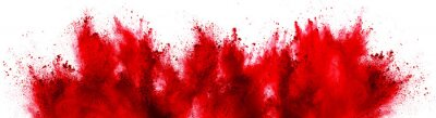 Naklejka bright red holi paint color powder festival explosion isolated white background. industrial print concept background