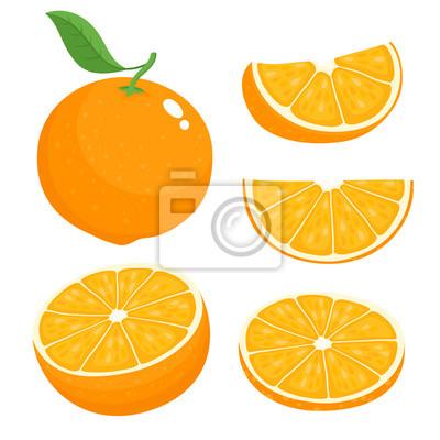 Naklejka Bright vector set of colorful juicy orange.