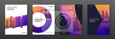 Naklejka Brochure cover design layout set for business and construction. Abstract geometry whith colored cityscape vector illustration on background. Good for annual report, industrial catalog design.