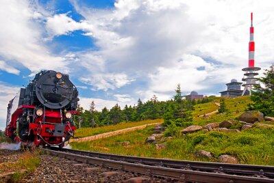 Naklejka Brocken i szczyt z Brockenbahn