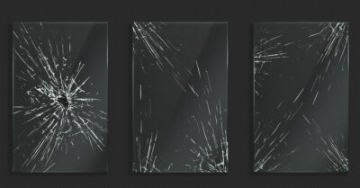 Naklejka Broken glass with cracks and hole from impact or bullet. Vector realistic set of rectangle clear acrylic or plexiglass frames with crashed texture, white scratches and breaks