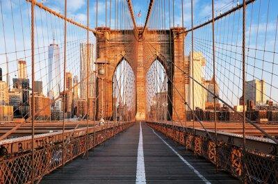 Naklejka Brooklyn Bridge o świcie, Nowy Jork, Manhattan