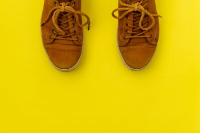 Naklejka  Brown leather sneakers  on yellow background