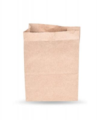 Naklejka Brown paper bag isolated on white ; Clipping path