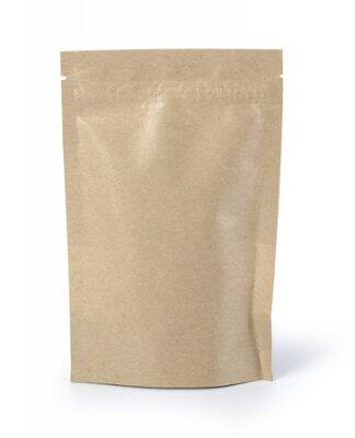 Naklejka Brown paper food bag packaging with valve and seal