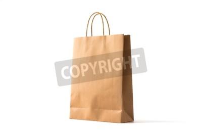 Naklejka Brown paper shopping bag on white