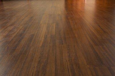 Naklejka brown wood laminate floor varnish in modern home