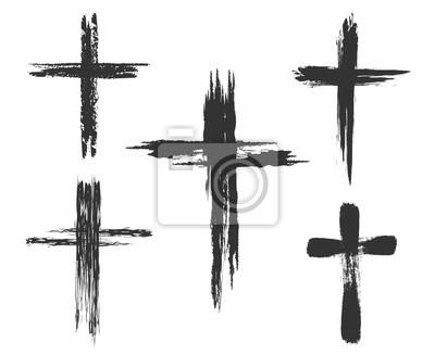 Naklejka Brush malowane ikony krzyża