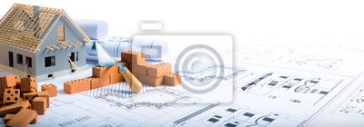 Naklejka Budowa domu - cegły i projekt dla Budownictwa