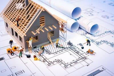 Naklejka budowa domu na plany z pracownikiem - projekt budowlany
