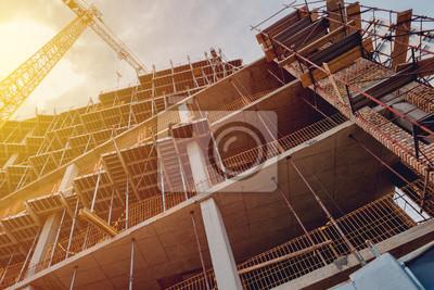 Naklejka Budowa placu budowy z rusztowaniem