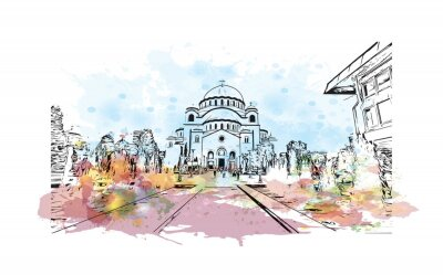 Naklejka Building view with landmark of Belgrade is the capital of Serbia. Watercolor splash with hand drawn sketch illustration in vector.