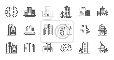 Naklejka Buildings line icons. Bank, Hotel, Courthouse. City, Real estate, Architecture buildings icons. Hospital, town house, museum. Urban architecture, city skyscraper. Linear set. Quality line set. Vector
