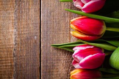 Naklejka Bukiet kwiatów tulipanów na tle z kopi?