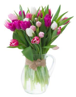Naklejka bukiet różowych, fioletowych i białych tulipanów