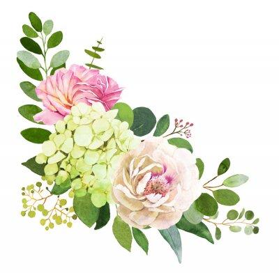 Naklejka Bukiet ślubny. Ilustracje akwarela piwonia, Hortensja i róży kwiaty