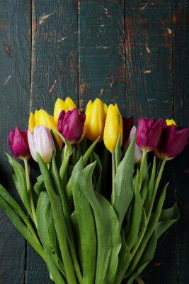 Naklejka bukiet tulipanów na tablicach