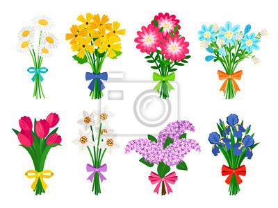 Naklejka Bukiety świeżych kwiatów. Lato bukiet ustawiający odizolowywającym, kobieta kwitnie prezent, tulipany, stokrotki, bzy i daffodils wiosen wiązek wektoru ilustracja