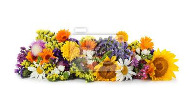 Naklejka Bunch of beautiful wild flowers on white background