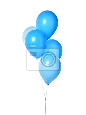 Naklejka Bunch of big blue balloons object for birthday party isolated on a white