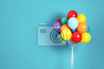 Naklejka Bunch of bright balloons and space for text against color background