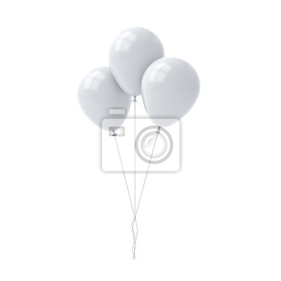 Naklejka Bunch of white glossy balloons isolated over white background with window reflections 3D rendering