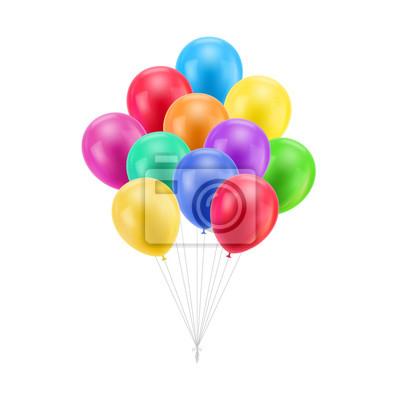 Naklejka Bundle kolorowe balony izolowane. Paczka kolorowe balony izolowane dla projektantów i ilustratorów. Pęczek kul w formie ilustracji wektorowych