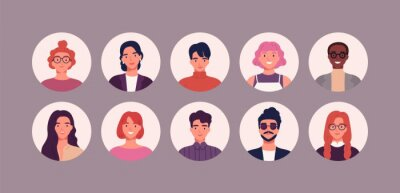 Naklejka Bundle of different people avatars. Set of colorful user portraits. Male and female characters faces. Smiling young men and women avatar colletion. Vector illustration in flat cartoon style