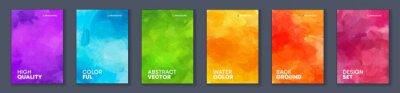 Naklejka Bundle set of bright vector colorful watercolor background for poster or brochure cover design