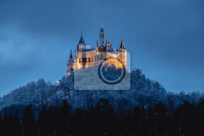 Naklejka Burg Hohenzollern im Winter, beleuchtet