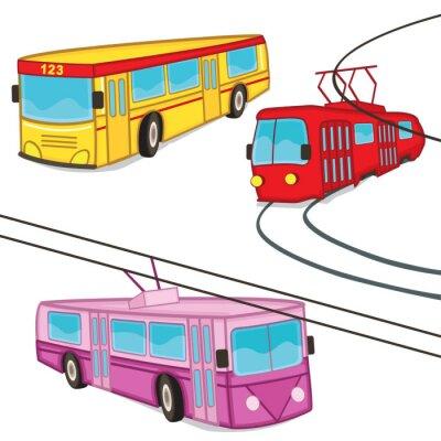 Naklejka bus trolejbus tramwajem pojedyncze - ilustracji wektorowych, EPS