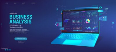 Naklejka Business dashboard with analysis and analytics online through the application on a laptop. Investment and financial management with deep data analytics on dashboard app. Trade and finance management
