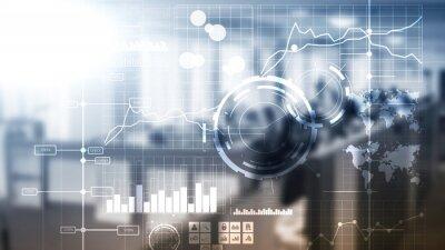 Naklejka Business intelligence BI Key performance indicator KPI Analysis dashboard transparent blurred background.