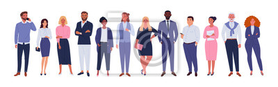 Naklejka Business multinational team. Vector illustration of diverse cartoon men and women of various races, ages and body type in office outfits. Isolated on white.