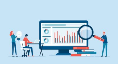 Naklejka business people analytics and monitoring on web report dashboard monitor concept and vector illustration business people team meeting working