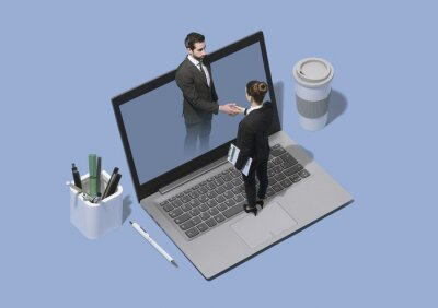 Business people meeting online and shaking hands