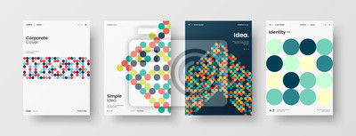 Naklejka Business presentation vector A4 vertical orientation front page mock up set. Corporate report cover abstract geometric illustration design layout bundle. Company identity brochure template collection.