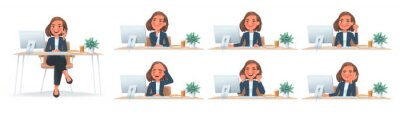 Naklejka Business woman at desktop. CEO or employee of the company with different emotions and gestures at the table at work. The girl dreams