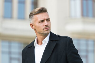 Naklejka Businessman concept. Men get more attractive with age. Facial care and ageing. Traits and behaviors that make men more appealing. Attractive mature man. Mature guy with grey hair and bristle