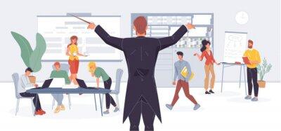 Naklejka Businessman conductor manage office work metaphor