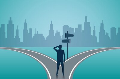 Naklejka Businessmen standing on the road the crossroad. Concept of important choices of a business. Decide direction. Human standing choice of ways. illustration cartoon vector