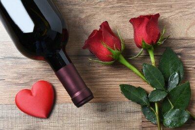 Naklejka Butelka wina Roses Serca