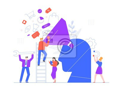Buyer focused marketing. Promotional strategy, professional marketing team and market growth generating or attracting new loyal leads vector illustration. Sales optimization plan, targeting strategy