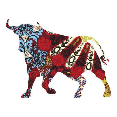 Naklejka byk w hiszpańskiej ornamentem