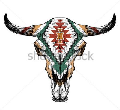 Naklejka Byka / auroch czaszka z rogami na białym tle. z tradycyjnym ozdoby na głowie