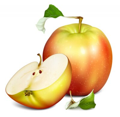 Naklejka Całe pół cięcia jabłek