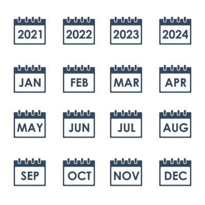 Naklejka calendar grid with month names, vector icons set